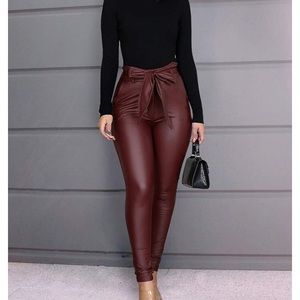 hirigin Pants & Jumpsuits - 0939 Women Leggings Leather High Waist Skinny